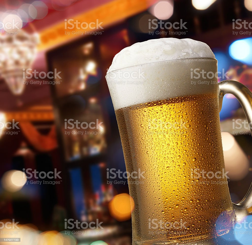 beer on bar counter royalty-free stock photo