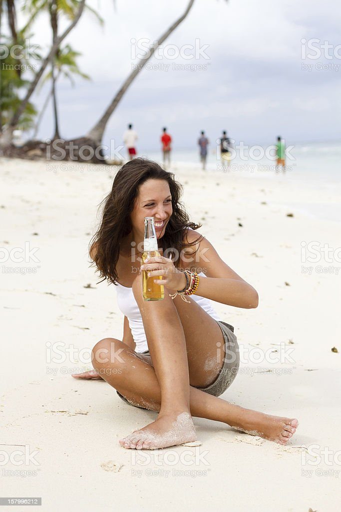 beer on beach stock photo