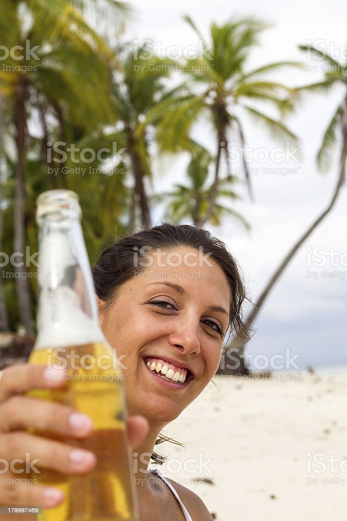 beer on beach royalty-free stock photo