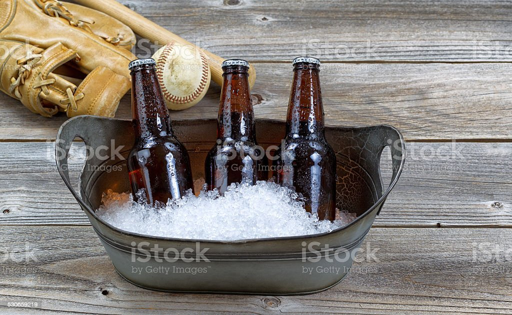 Beer on ice for baseball stock photo