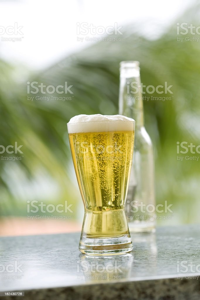 Beer on the Patio in Jamaica royalty-free stock photo