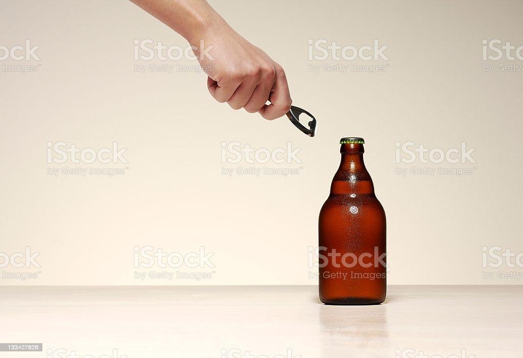 Beer opening stock photo