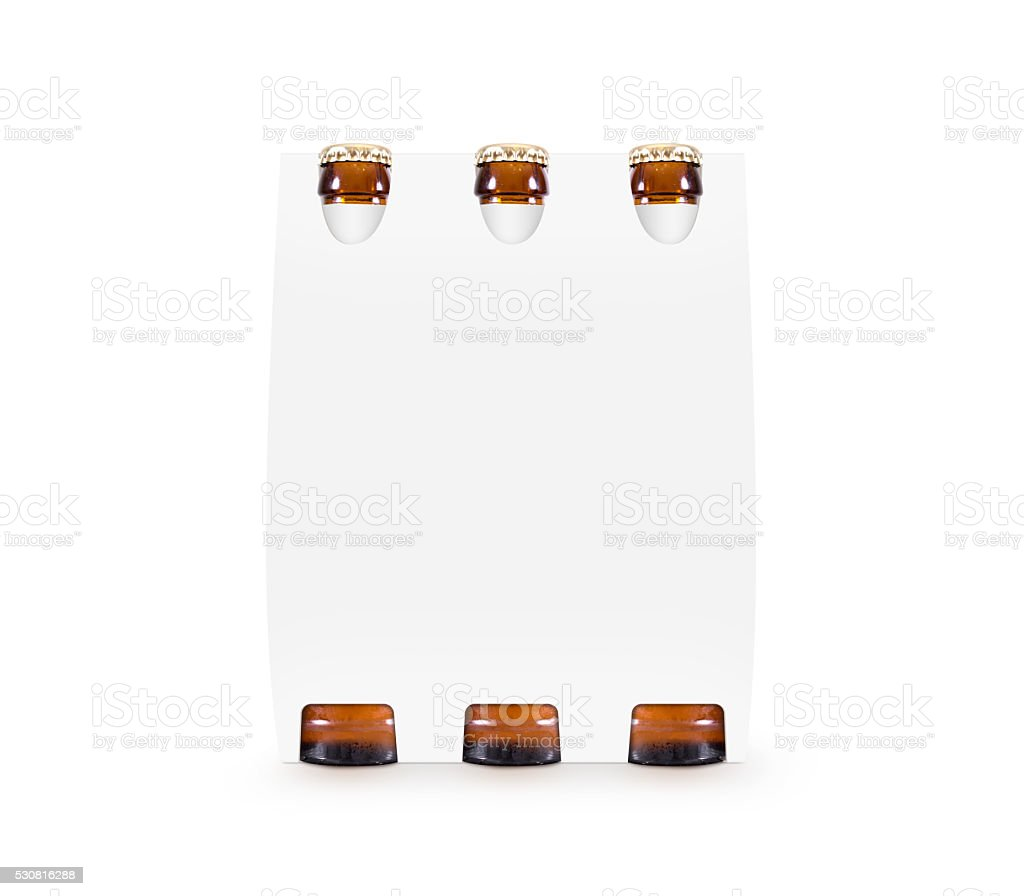 Beer paper box mock up isolated. Blank white case stock photo
