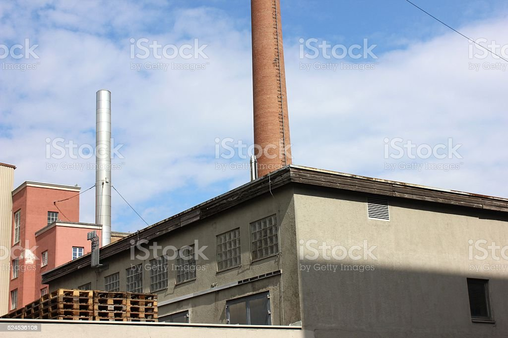 Beer plant landscape with pipes and pallets. stock photo