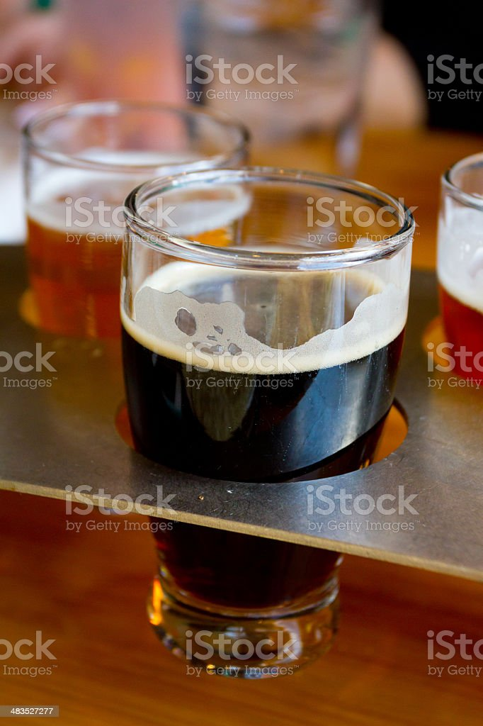 Beer Samplers at Brewery stock photo
