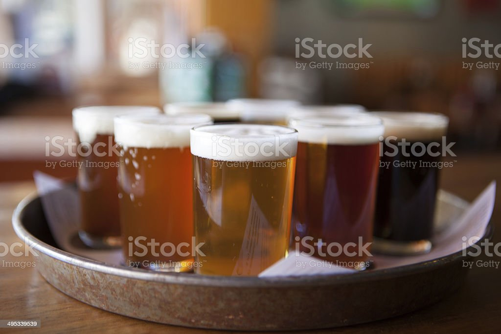 Beer samples on a tray stock photo