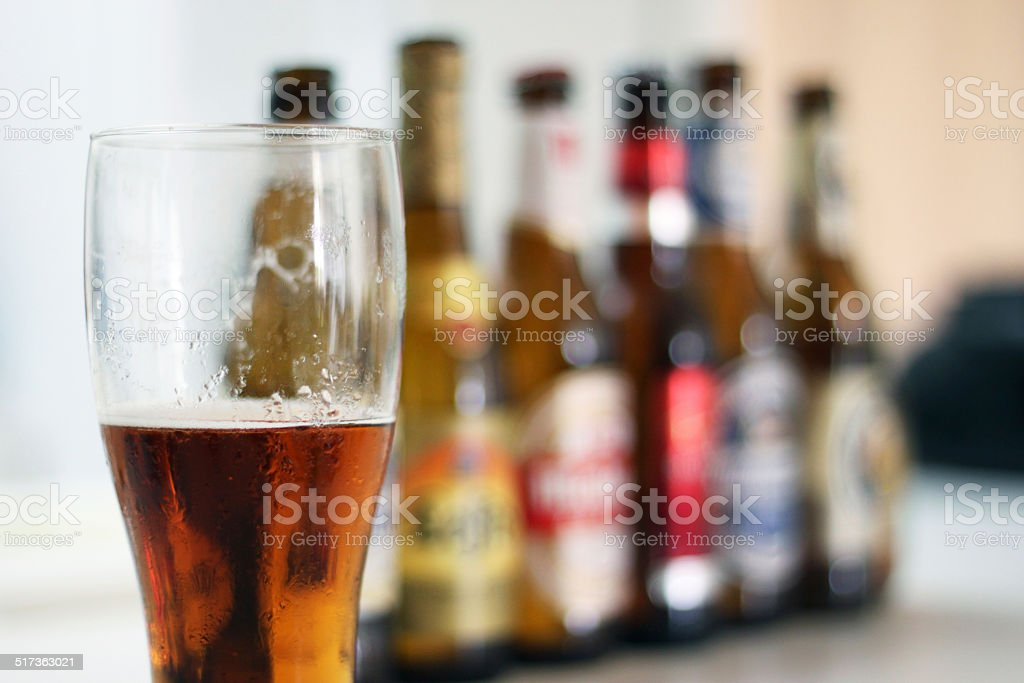 Beer served for a party stock photo