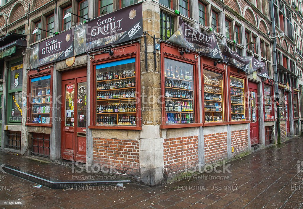 Beer Store in Ghent stock photo