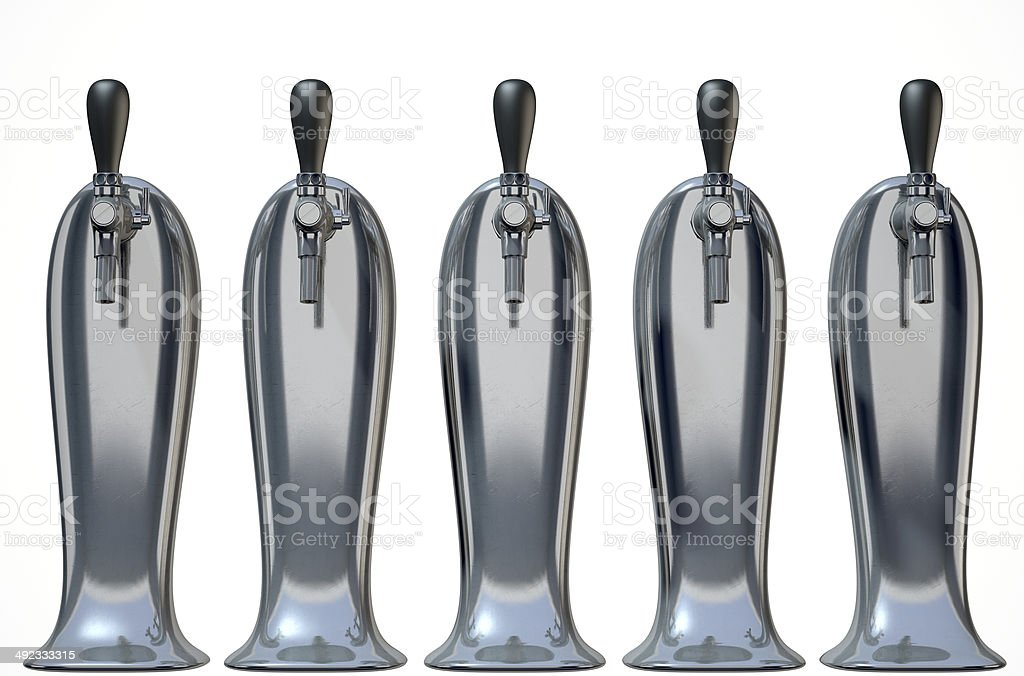 Beer Tap Row Isolated stock photo