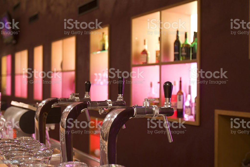 Beer taps in a bar royalty-free stock photo