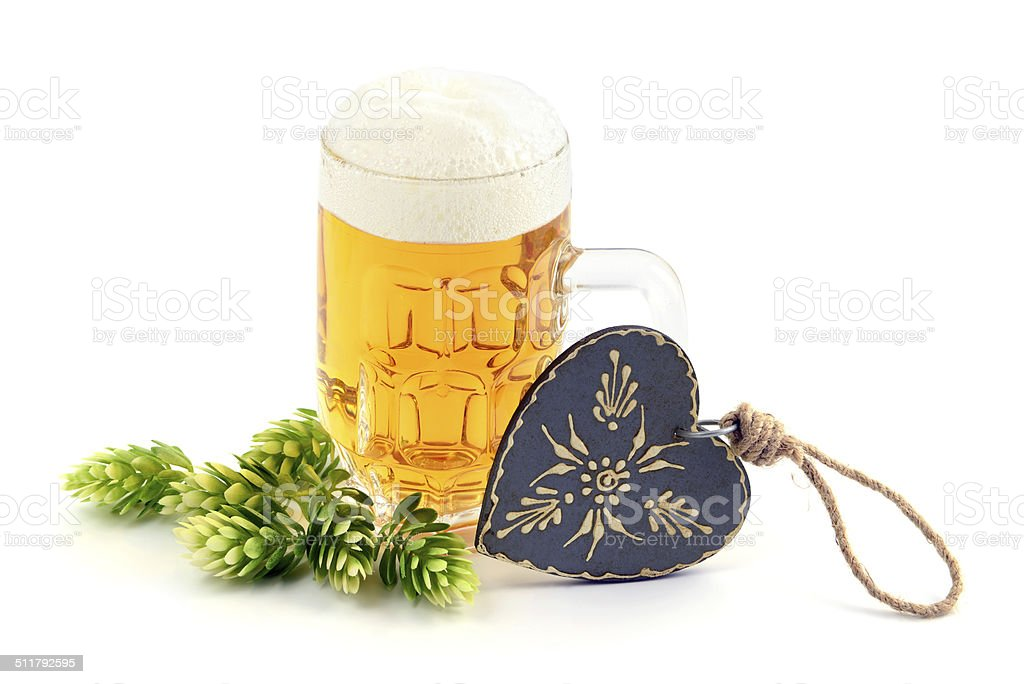 Beer with heart and hop stock photo