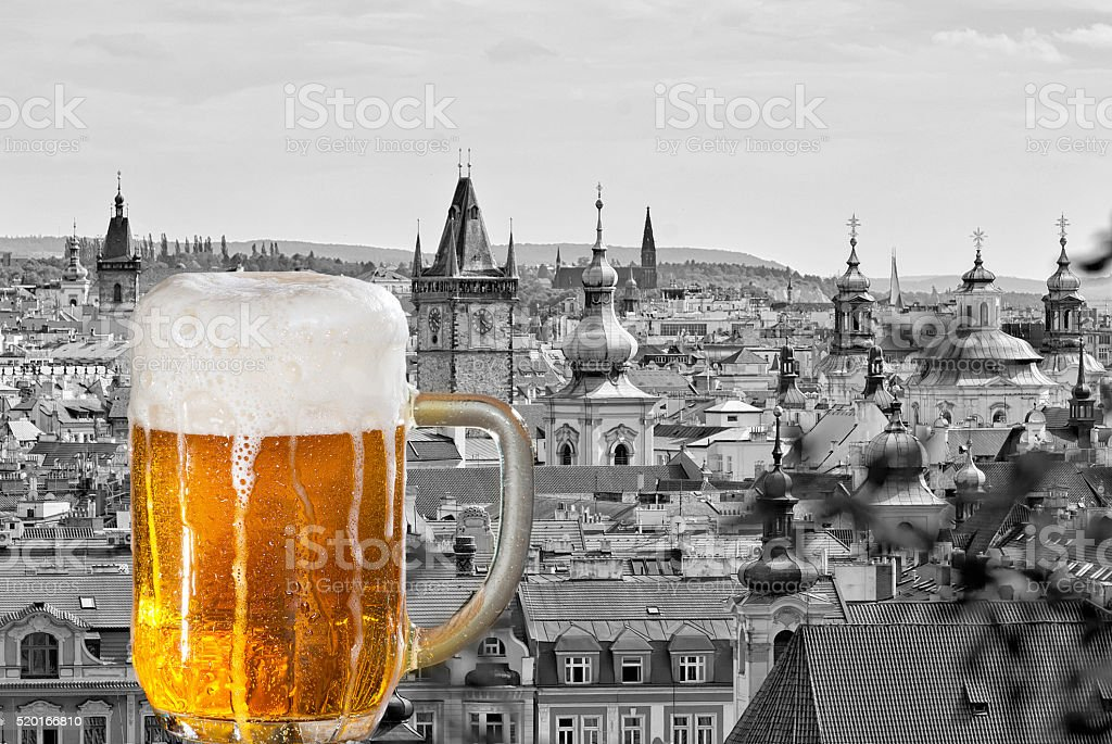 Beer with the panorama of Prague stock photo