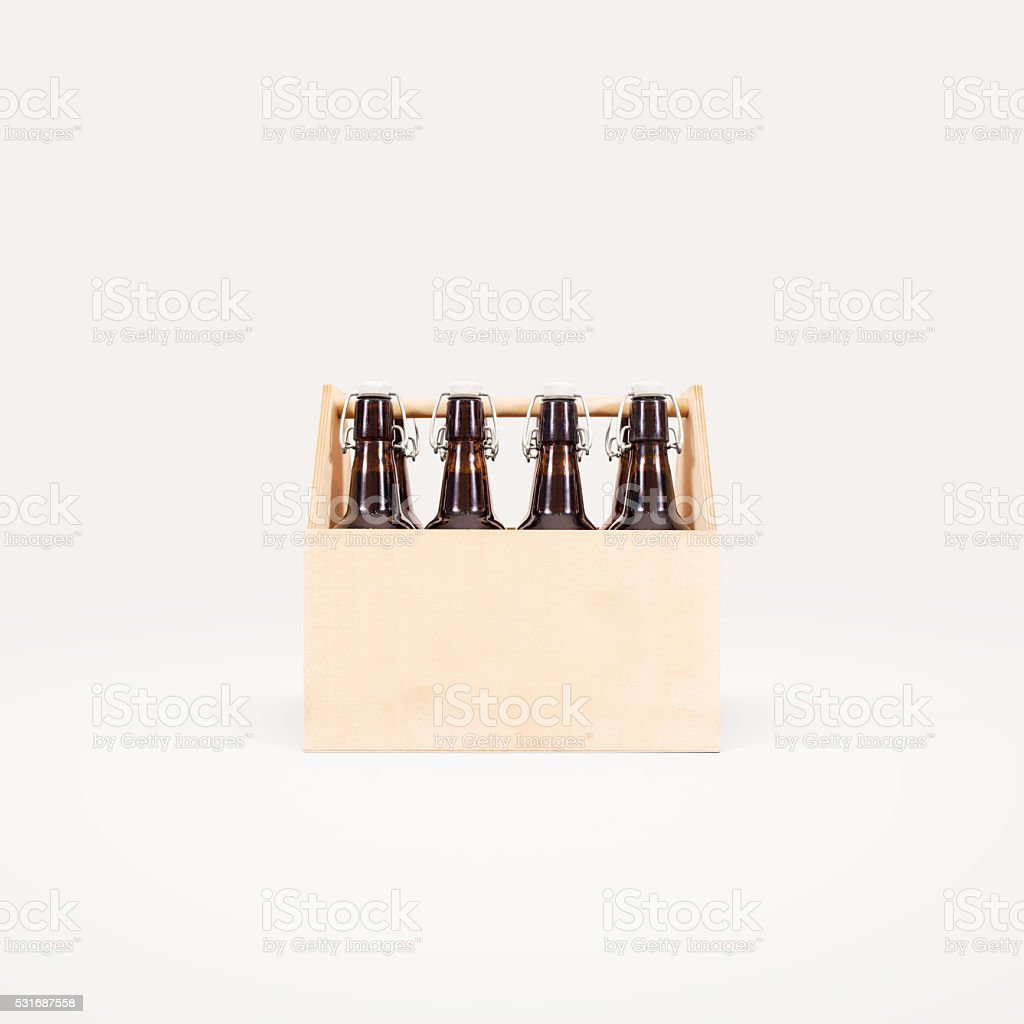 Beer wooden box mock up isolated stock photo
