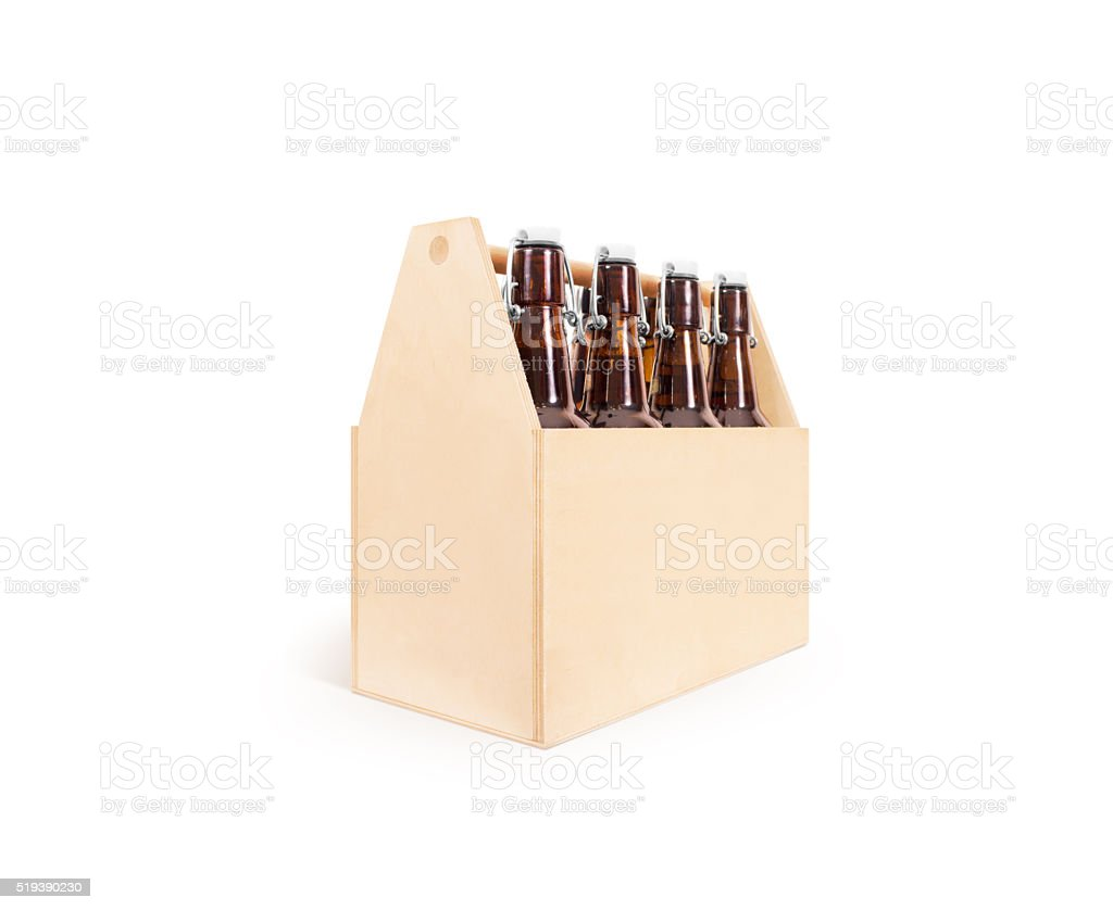 Beer wooden box side mock up isolated stock photo