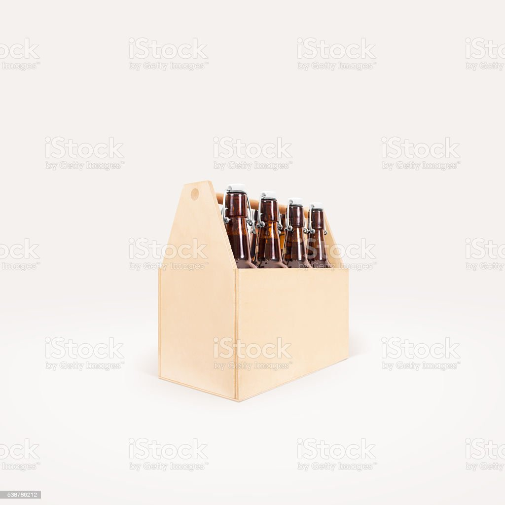 Beer wooden box side mock up isolated. stock photo