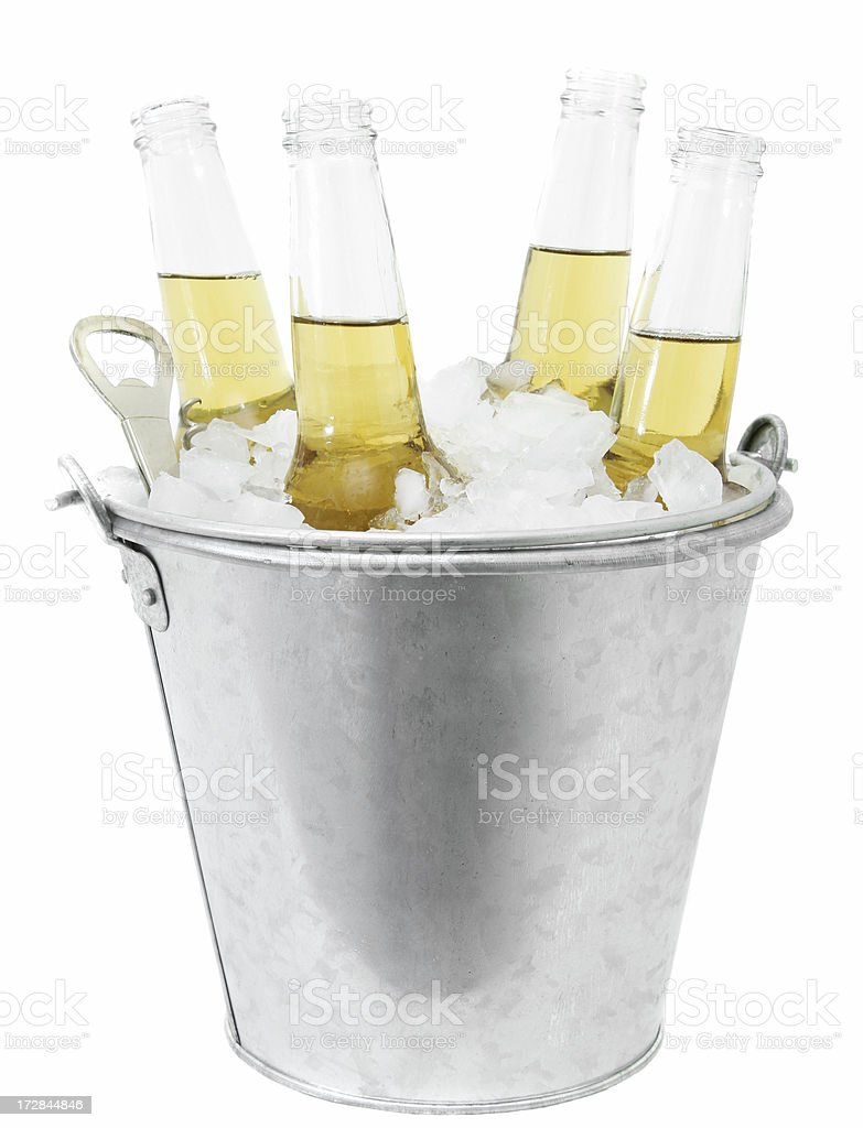 Beers in a Bucket of Ice stock photo