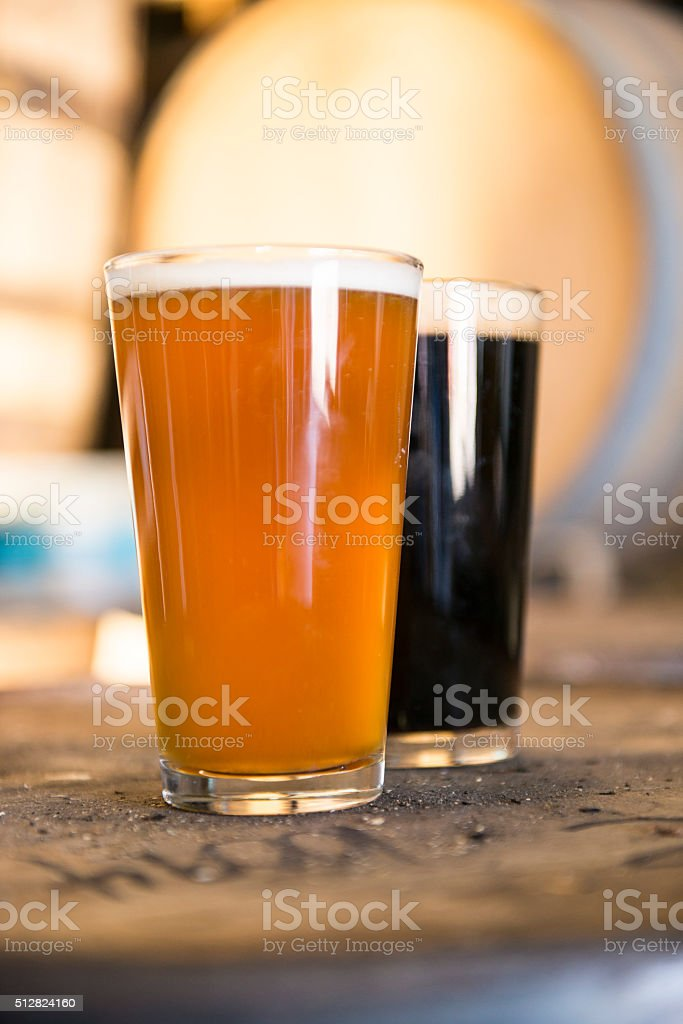 Beers in Brewery stock photo
