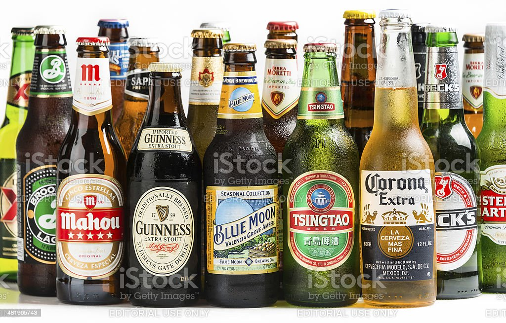 Beers of the world stock photo