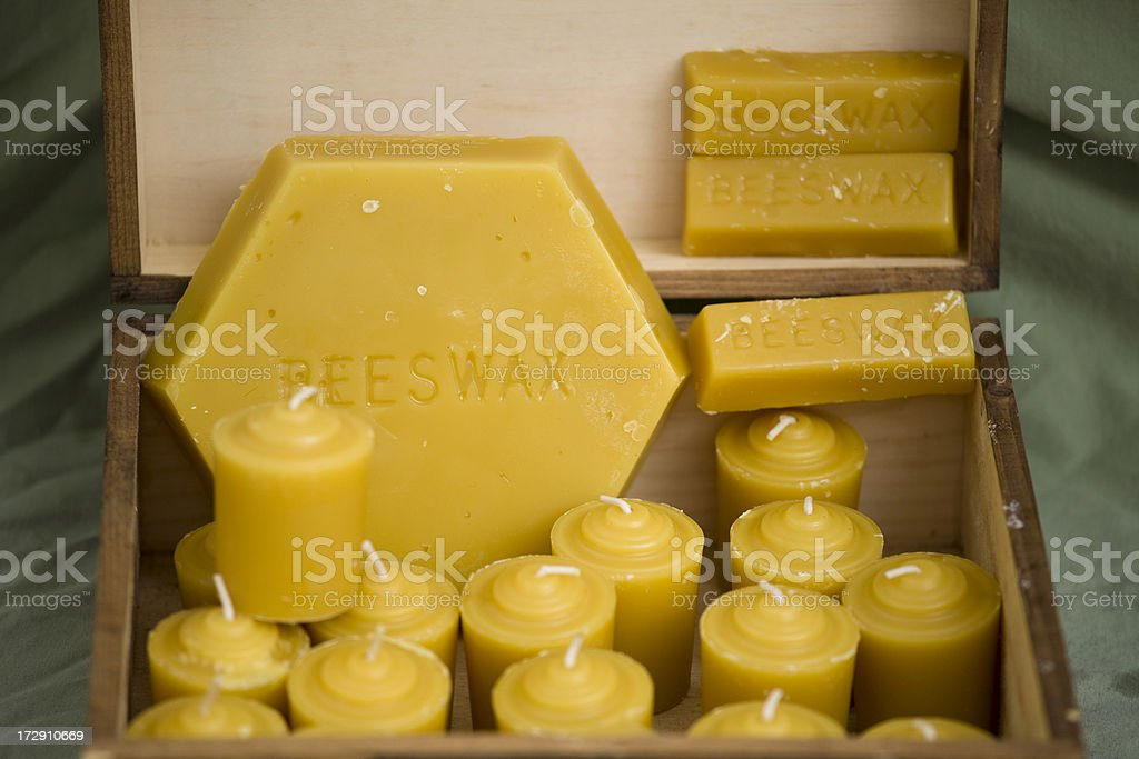 Beeswax and candles royalty-free stock photo