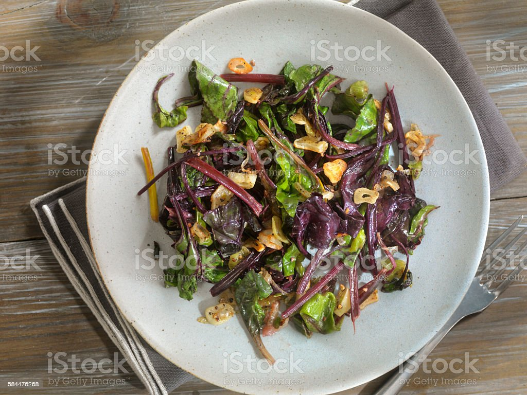 Beet Leaves Sautéed with Butter, Garlic and Onions stock photo