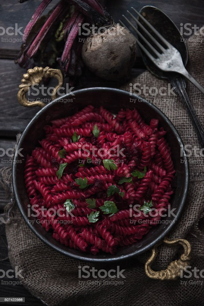 Beet Macaroni stock photo