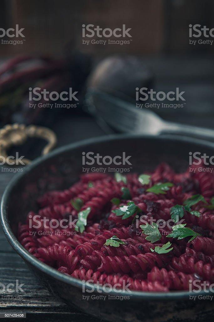 Beet Macaroni stock photo