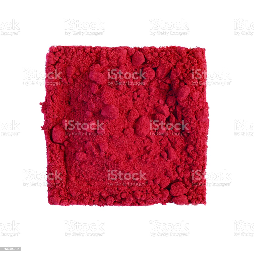 Beet powder in square composition stock photo