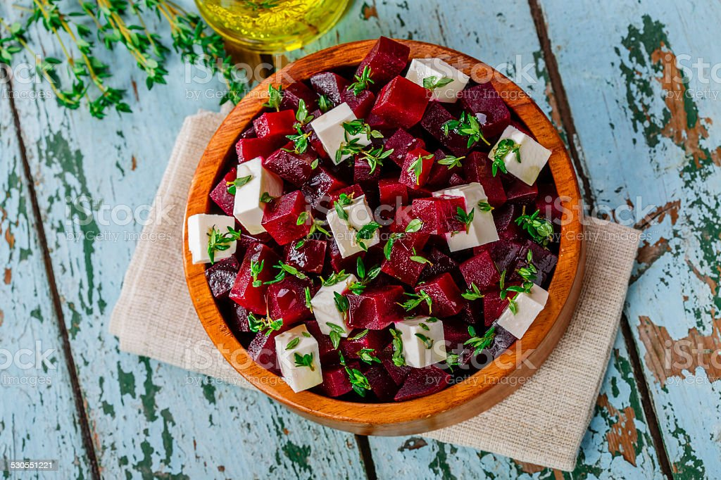 beet salad and feta cheese stock photo