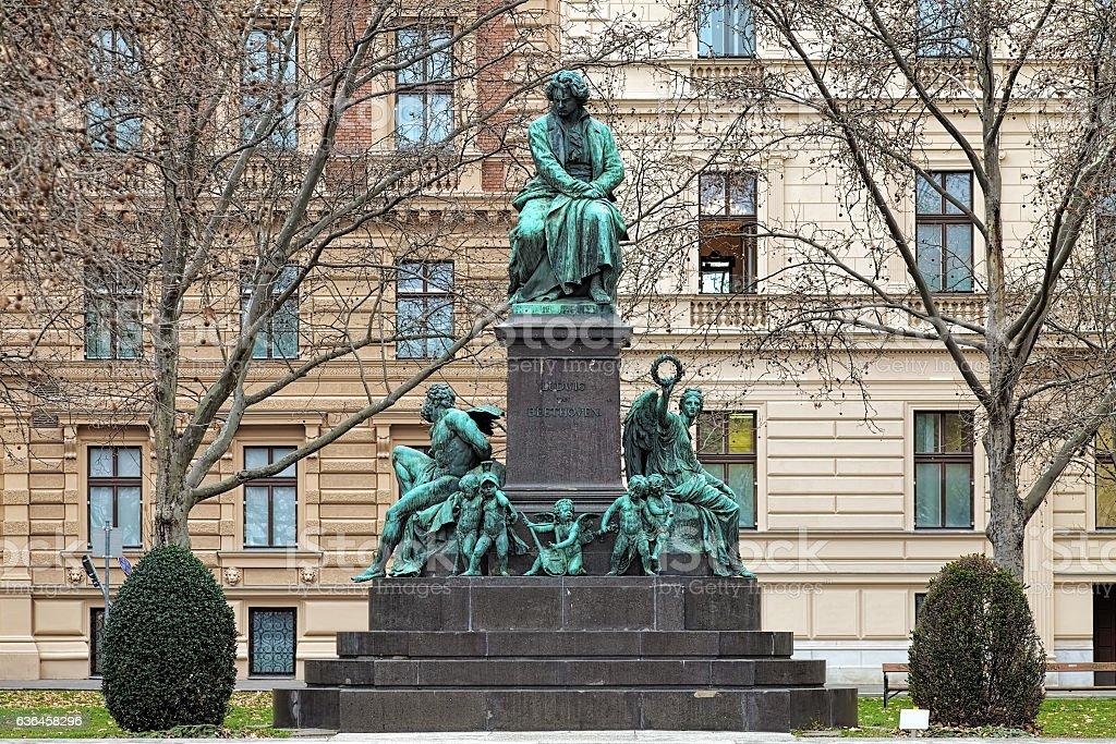 Beethoven monument on the Beethovenplatz square of Vienna, Austria stock photo