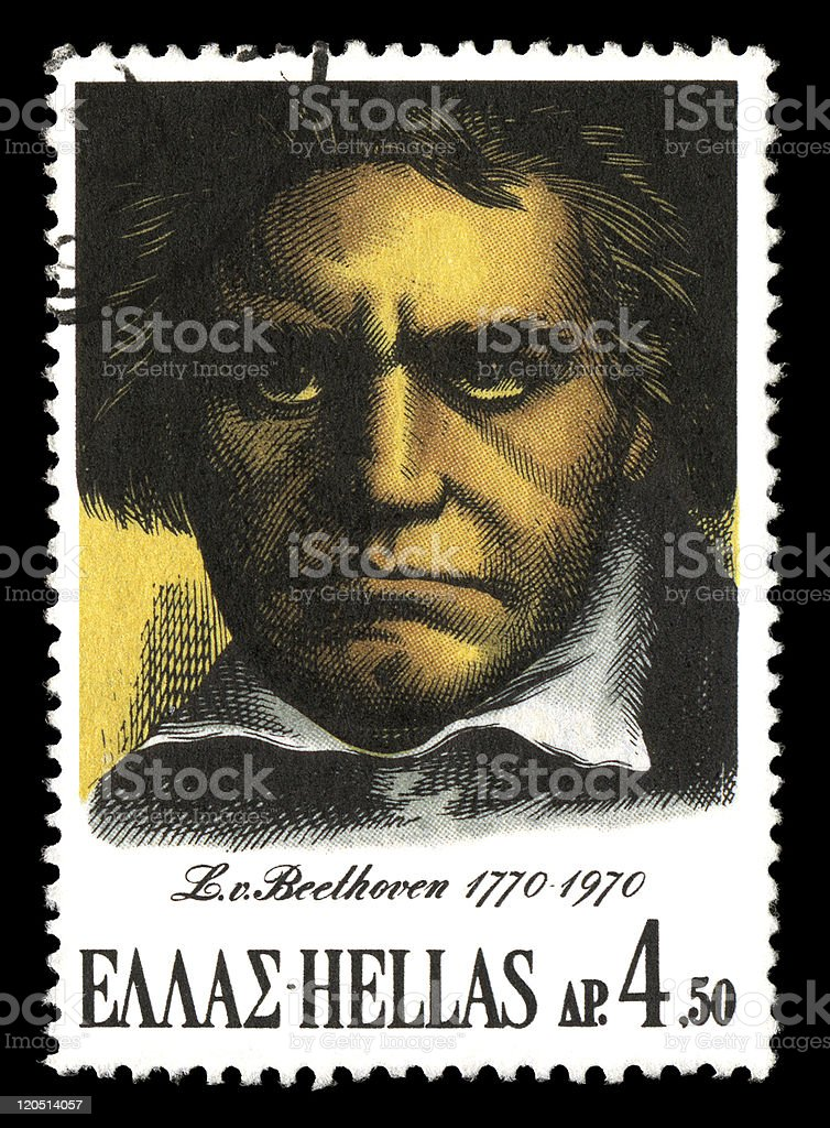 Beethoven postage stamp royalty-free stock photo