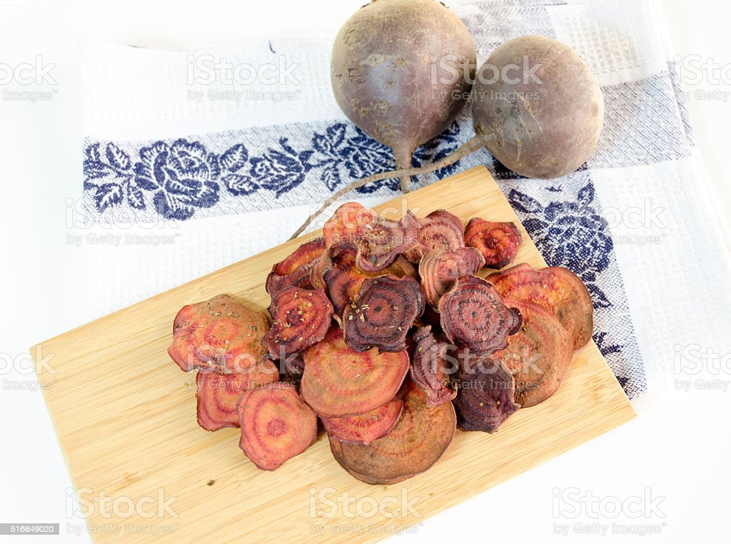 Beetroot chips stock photo