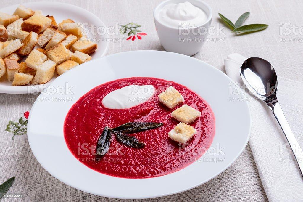 beetroot cream soup stock photo