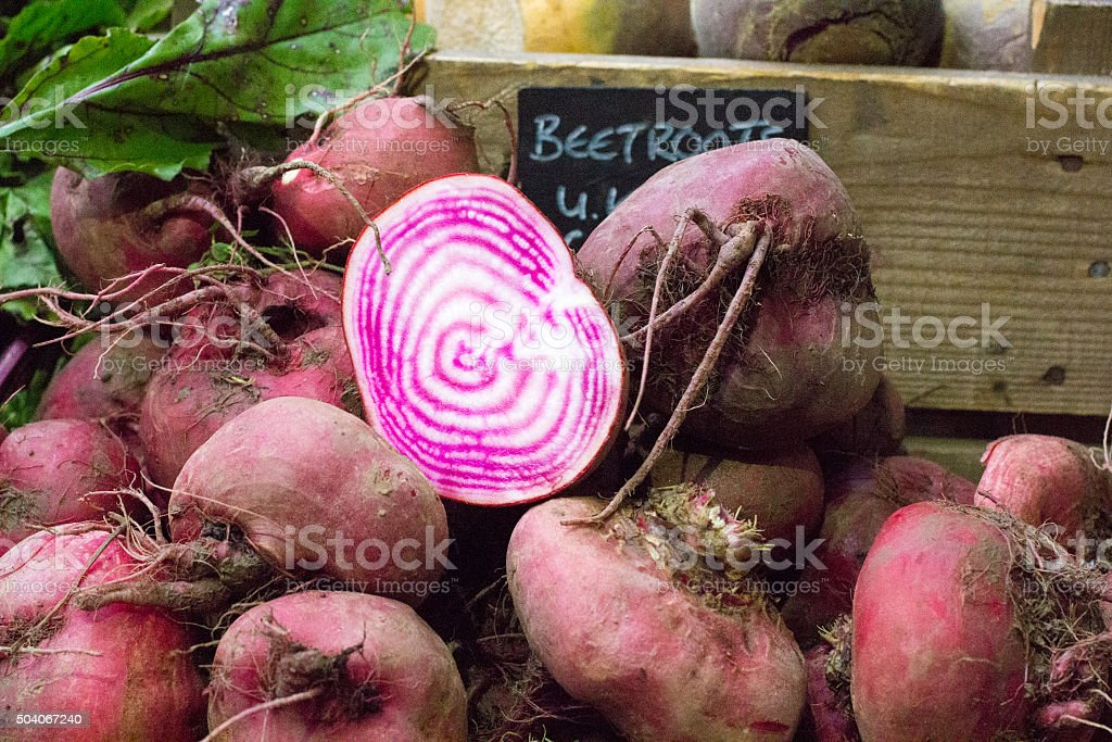 Beetroot in Borough Market, London stock photo