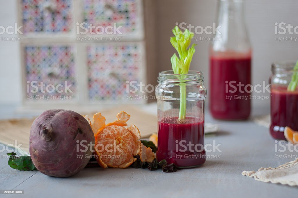Beetroot Juice with Celery and Orange stock photo