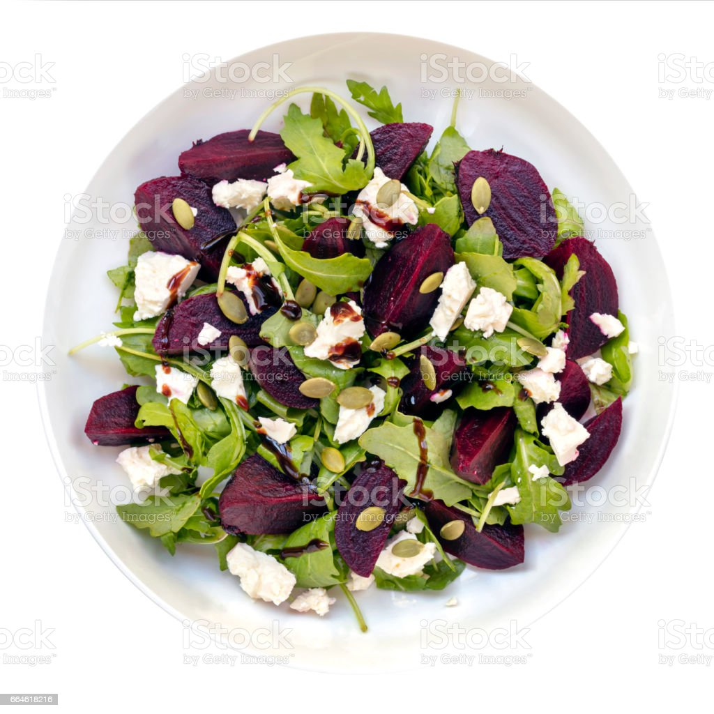 Beetroot Salad isolated Top View stock photo