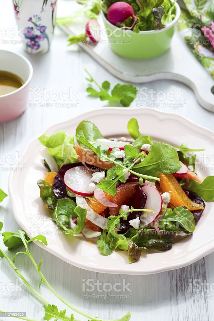 A beetroot salad on a plate on a table  stock photo