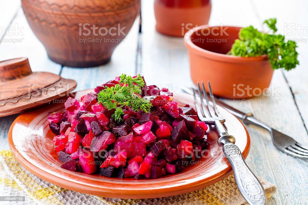 beetroot salad Vinegret stock photo