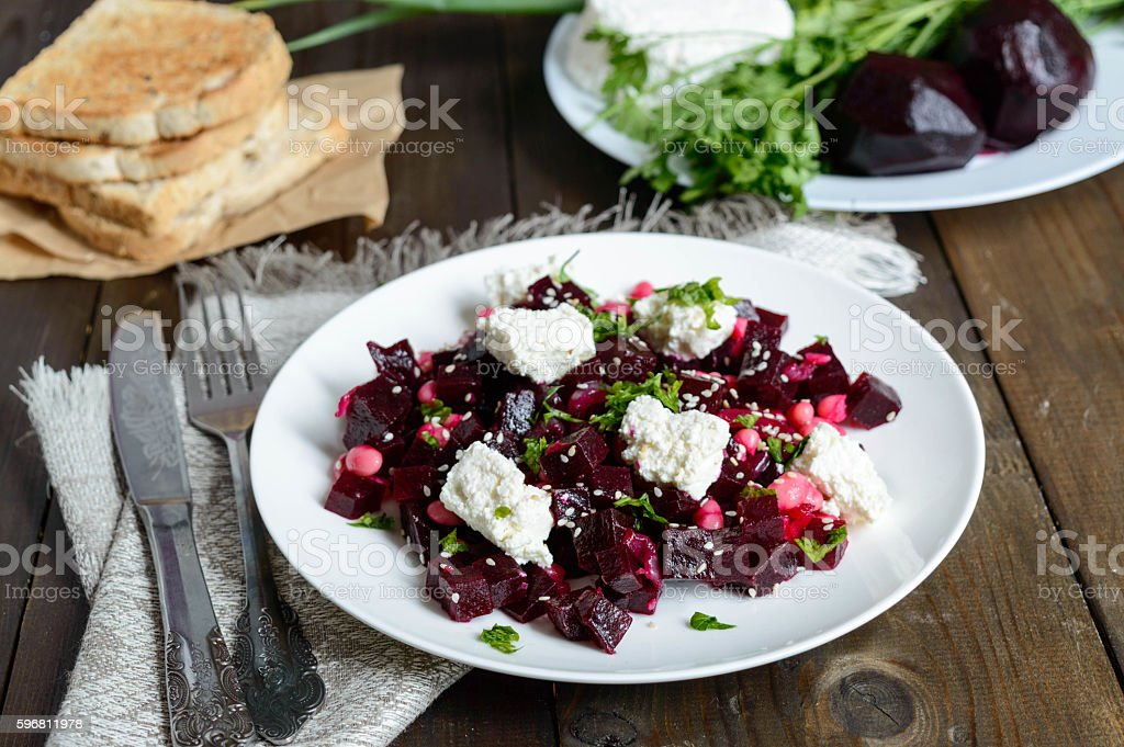 beetroot salad with feta cheese stock photo