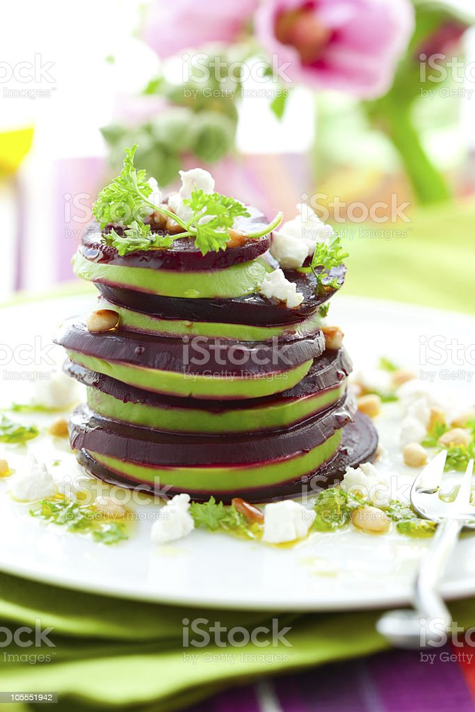 beetroot,goat cheese and avocado royalty-free stock photo