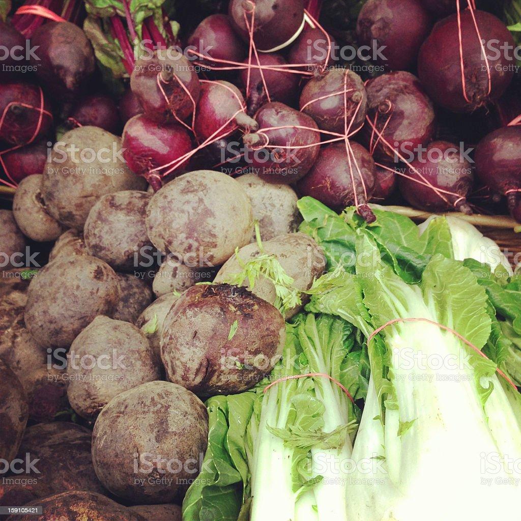 Beets and Bok Choy royalty-free stock photo