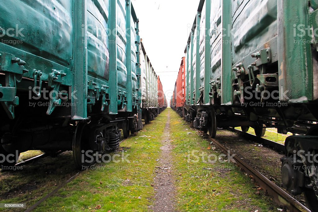Beetween two freight trains stock photo
