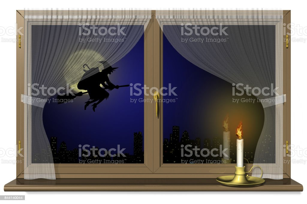 Befana Halloween Finestra con Candela stock photo