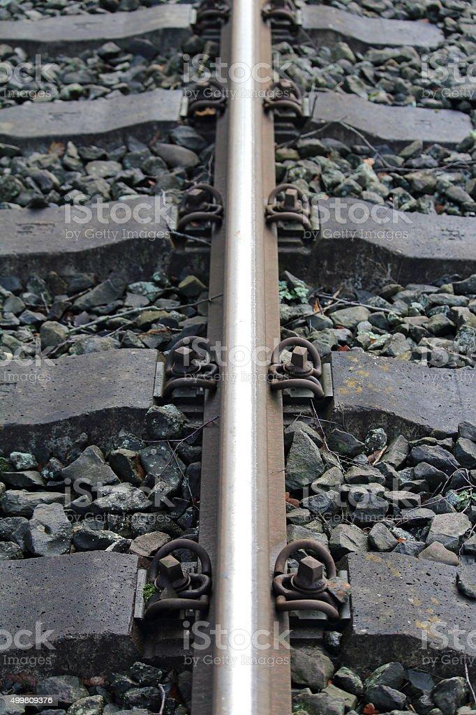 Befestigung des Bahngleises stock photo