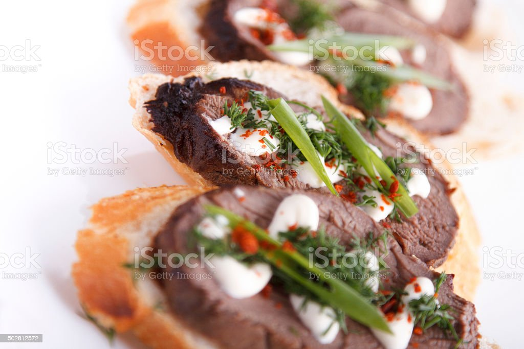 Beff Tenderloin Crostini stock photo