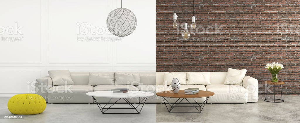 Before after comparison living room interior stock photo