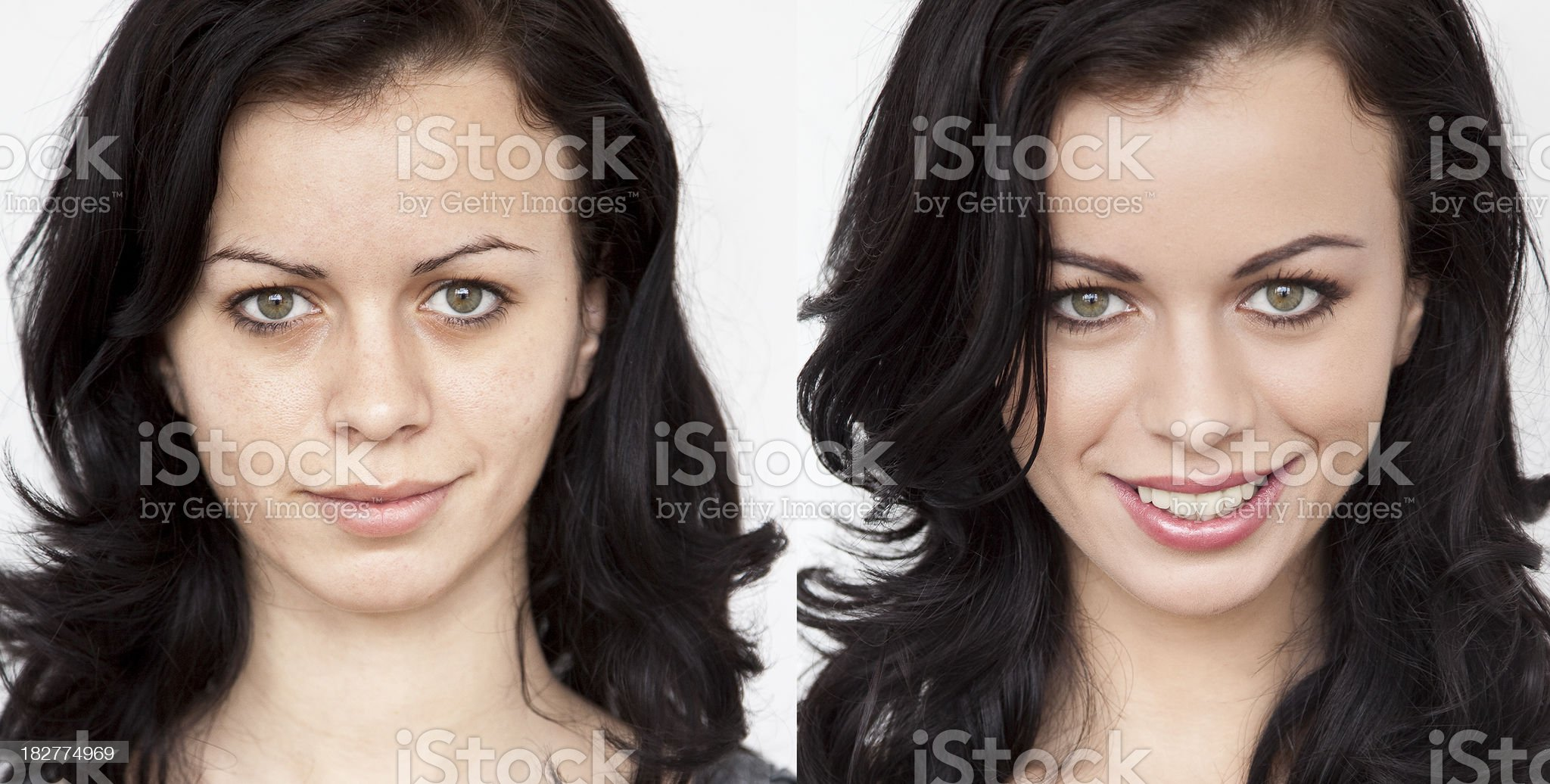 Before - After make-up royalty-free stock photo
