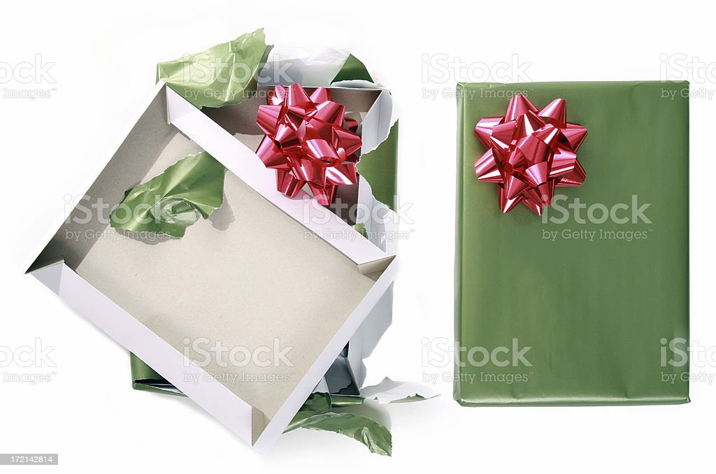 Before And After Christmas Present stock photo