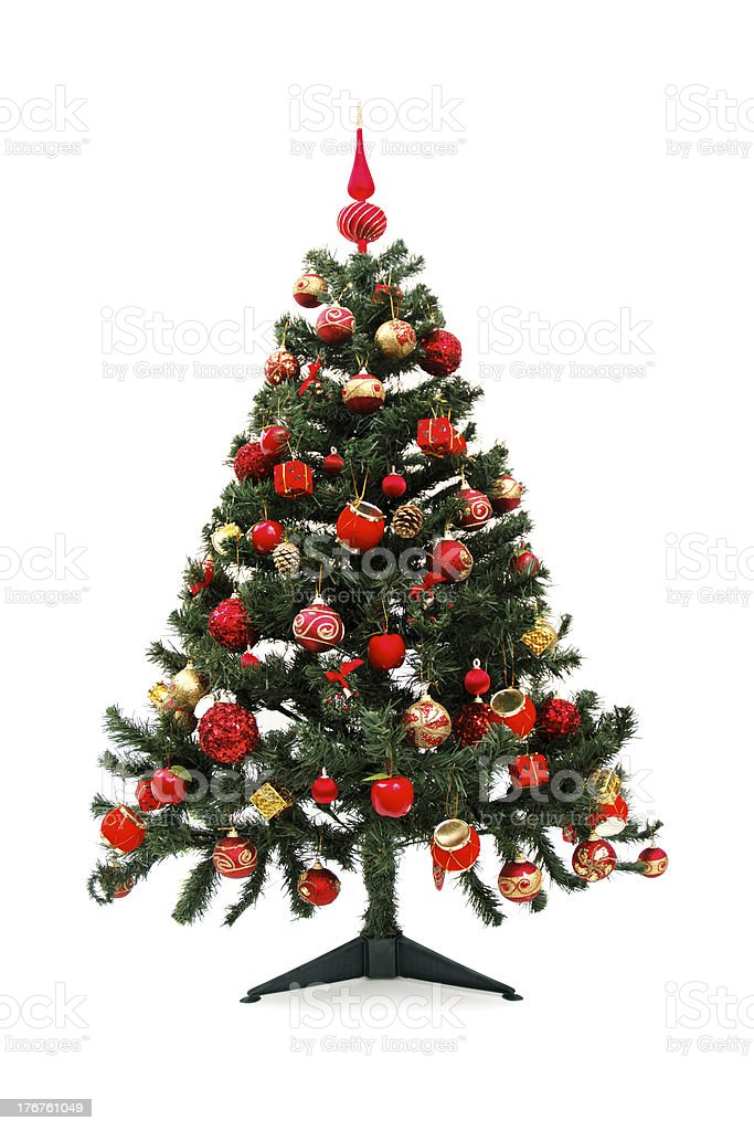 Before and after - Christmas tree stock photo