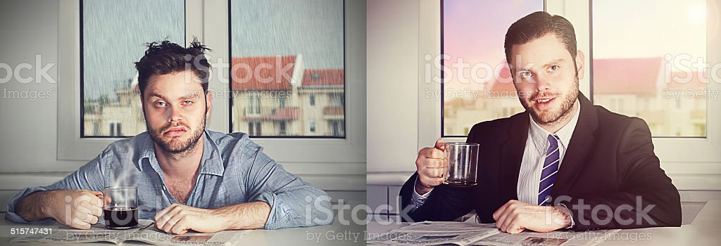 before and after coffee stock photo
