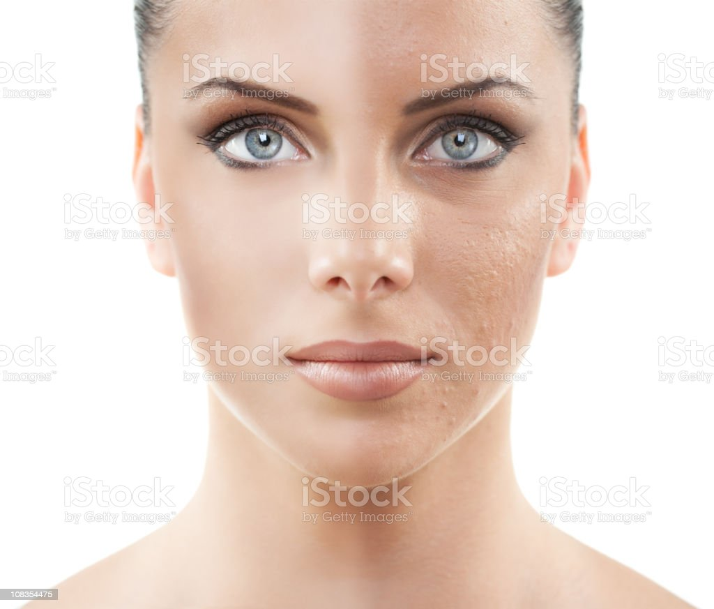 Before and after ... cosmetics, make up, photo retouch royalty-free stock photo